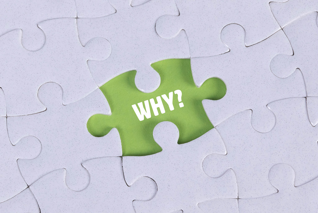 Missing puzzle piece with Why? text