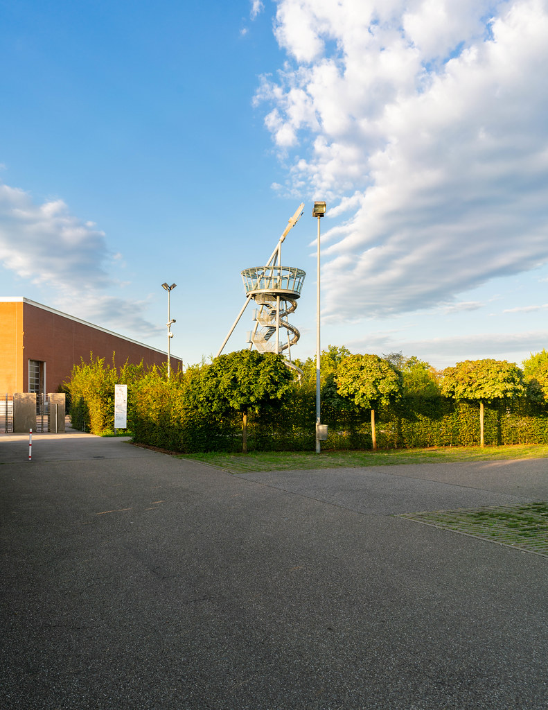 Leaning tower installation at Vitra Design Museum campus