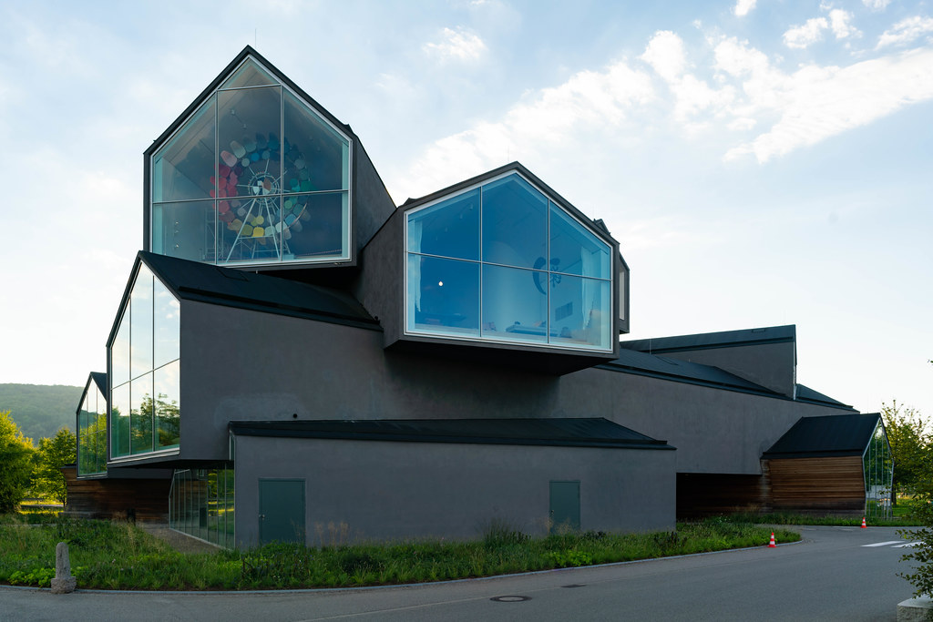 Main modern building of Vitra Design Museum with huge house shaped windows