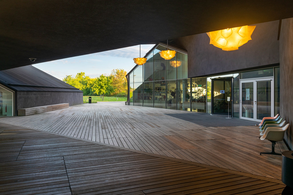 Inner yard of an interlaced main building of Vitra museum