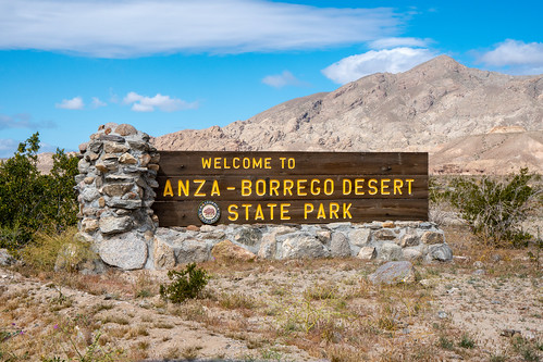 Borrego Springs, CA - March 21, 2019: Sign welcomes visitors to Anza Borrego Desert State Park, part of Californias State Park system