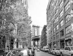 The Manhattan Bridge Viewed from Washington Street (B&W), Brooklyn, New York
