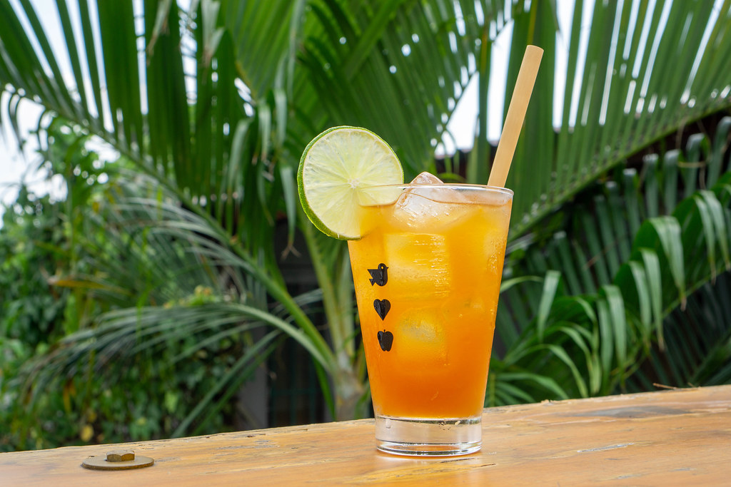 Tropical Summer Drink with Ice Cubes, Bamboo Straw and Slice of Lime in a Cocktail Glass with Plants in the Background