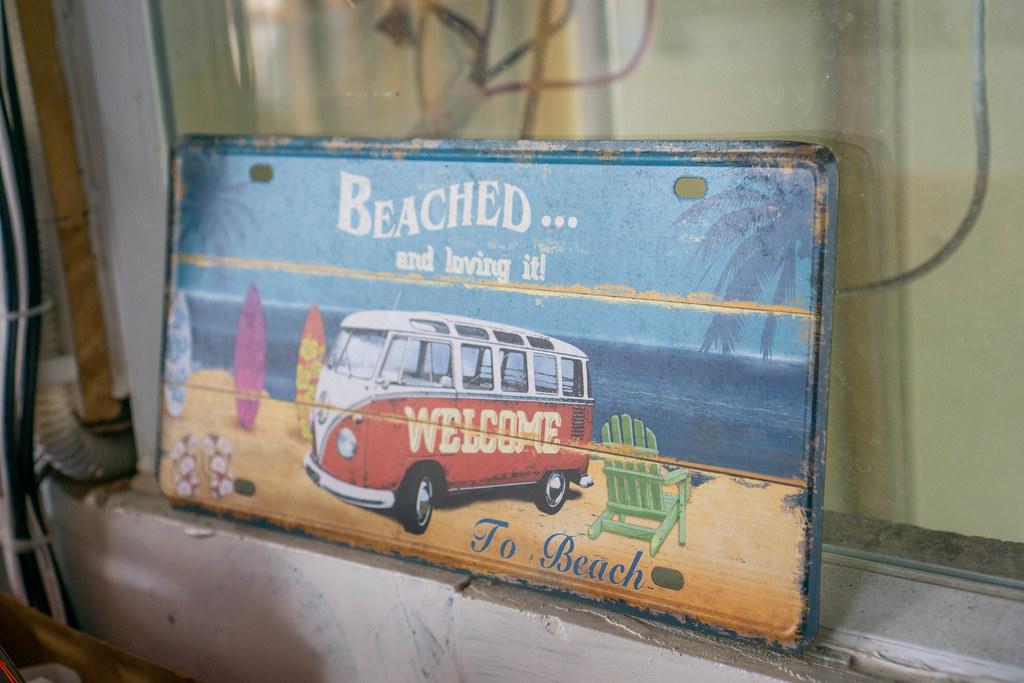 Welcome To Beach Decoration Wall Sign Board at a Hawaiian Restaurant in Saigon, Vietnam