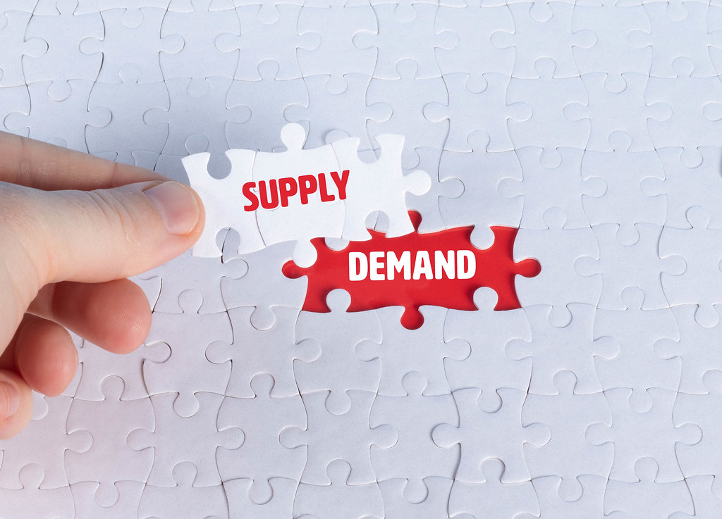 Missing puzzle pieces with a Supply Demand text