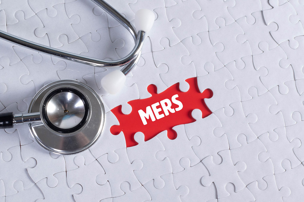 Stethoscope and missing puzzle with a Mers text
