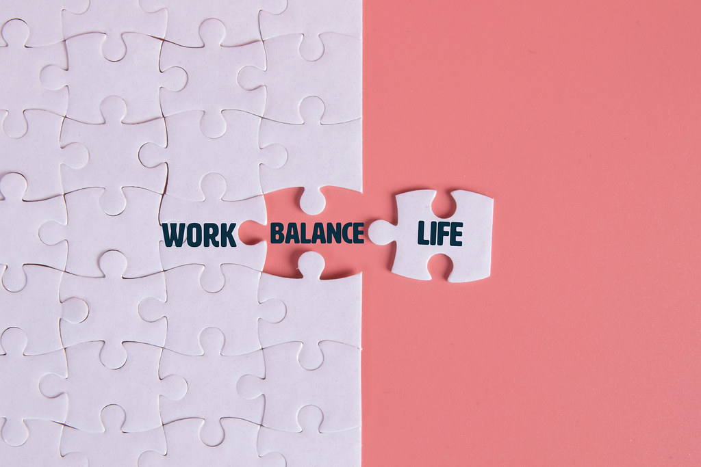 Puzzle pieces with Work, Balance, Life text
