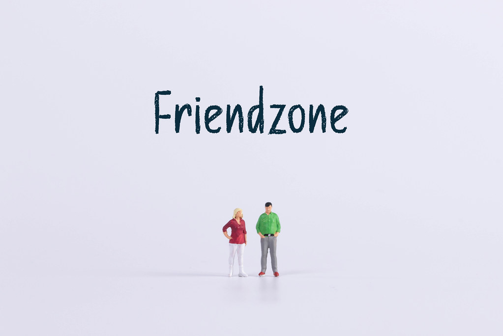 Miniature man and women with Friendzone text