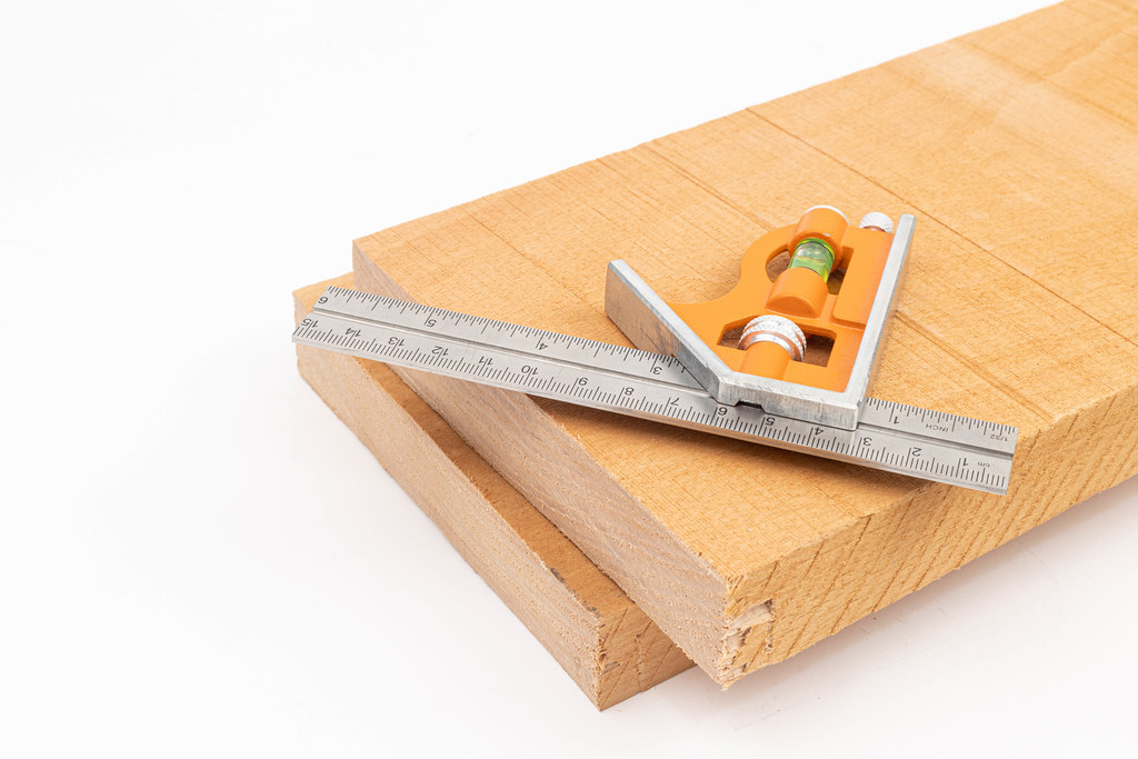 Combination Square on the Beech boards with copy space above white background