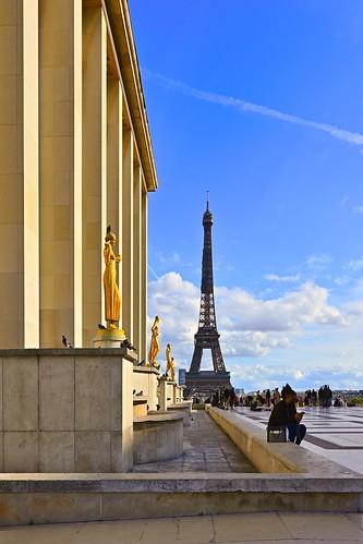 Trocadéro / Tour Eiffel / Paris / Parvis des droits de l'homme