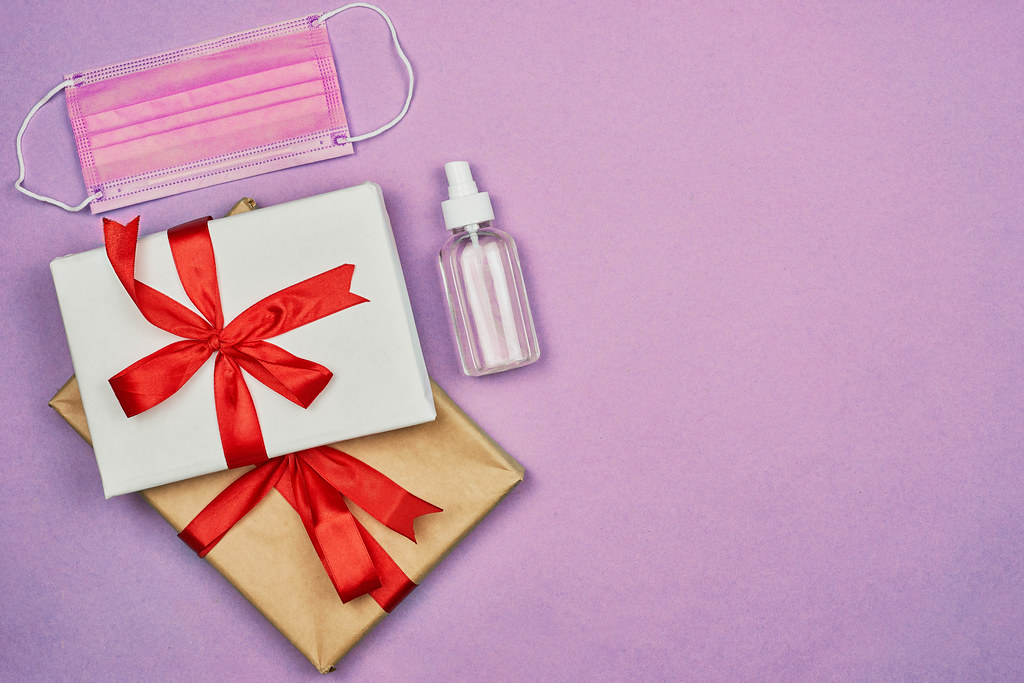 Valentine gifts with medical face mask and hand sanitizer
