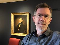 Paul with portrait of William Tew Tilley, birthday selfie, November 22, Georgetown, Washington, D.C.