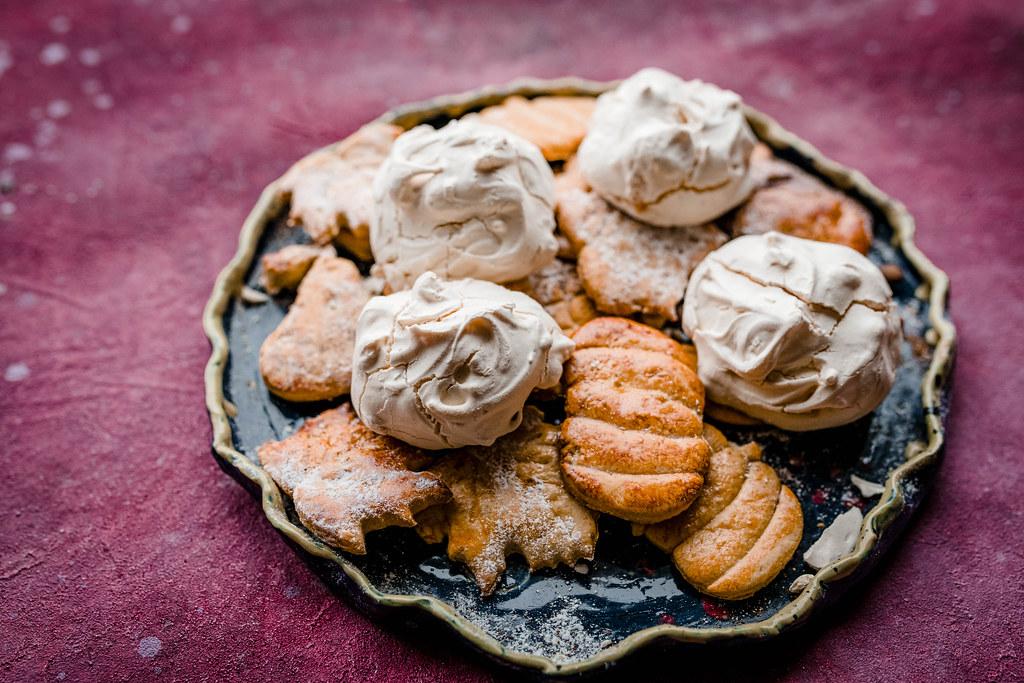 French Meringue Cookies With Honey Gingerbread Cookies.jpg