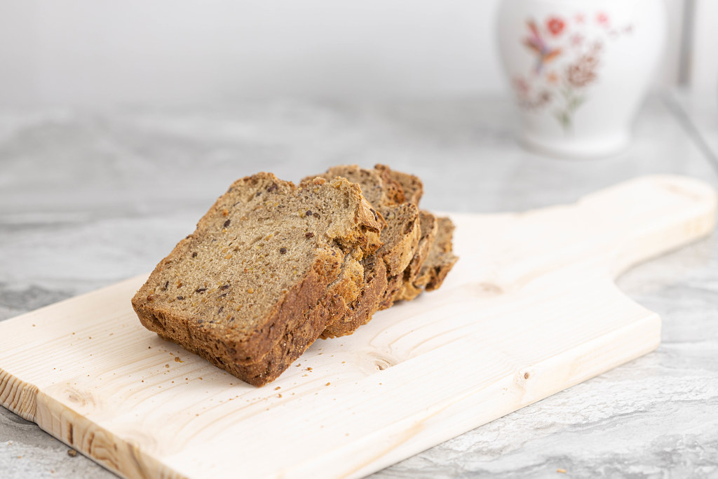 Homemade healthy bread sliced on the wooden board