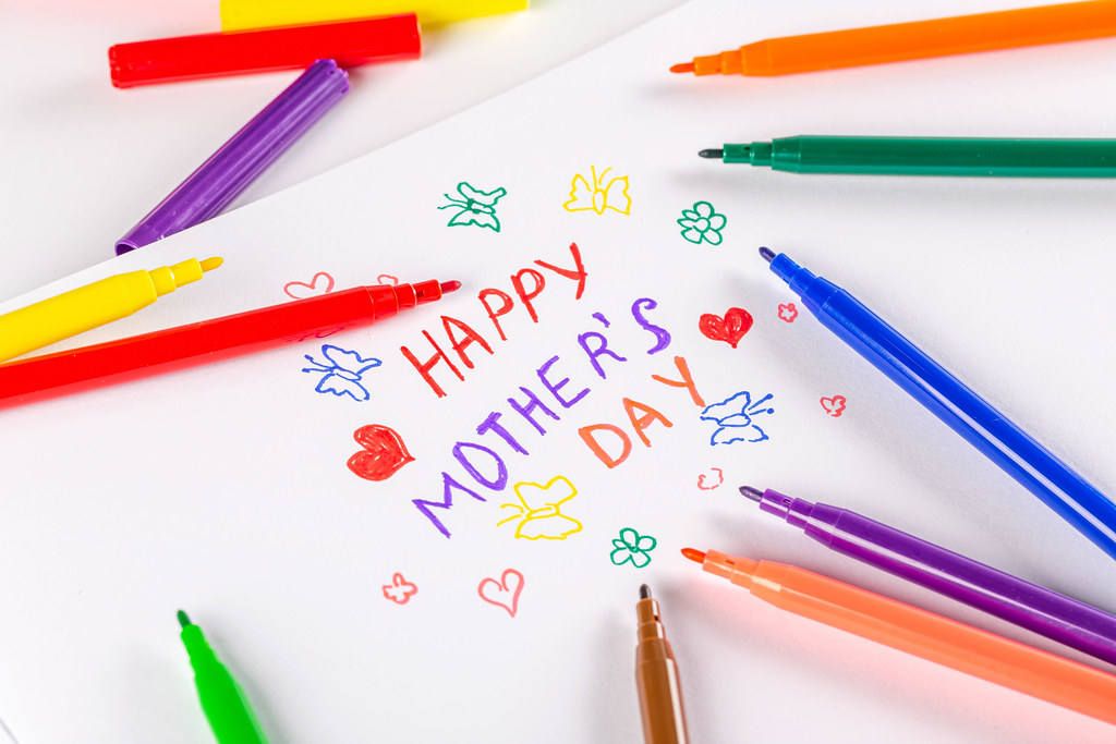 Happy mothers day card made by a child drawn with markers
