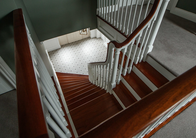Curved Paint Grade Cut String Stairs