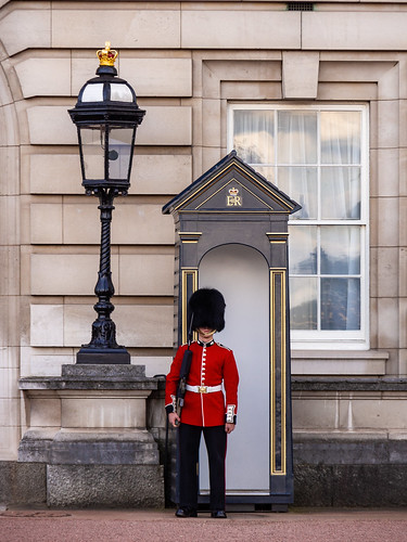 Buckingham Palace Queen's Foot Guard At Sentry Box - London