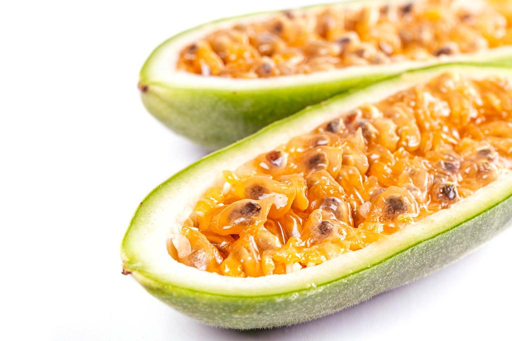 Close-up, halves of juicy curuba fruit