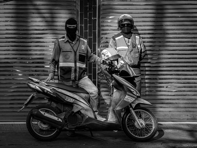 Motorcycle Taxi Drivers in B&W