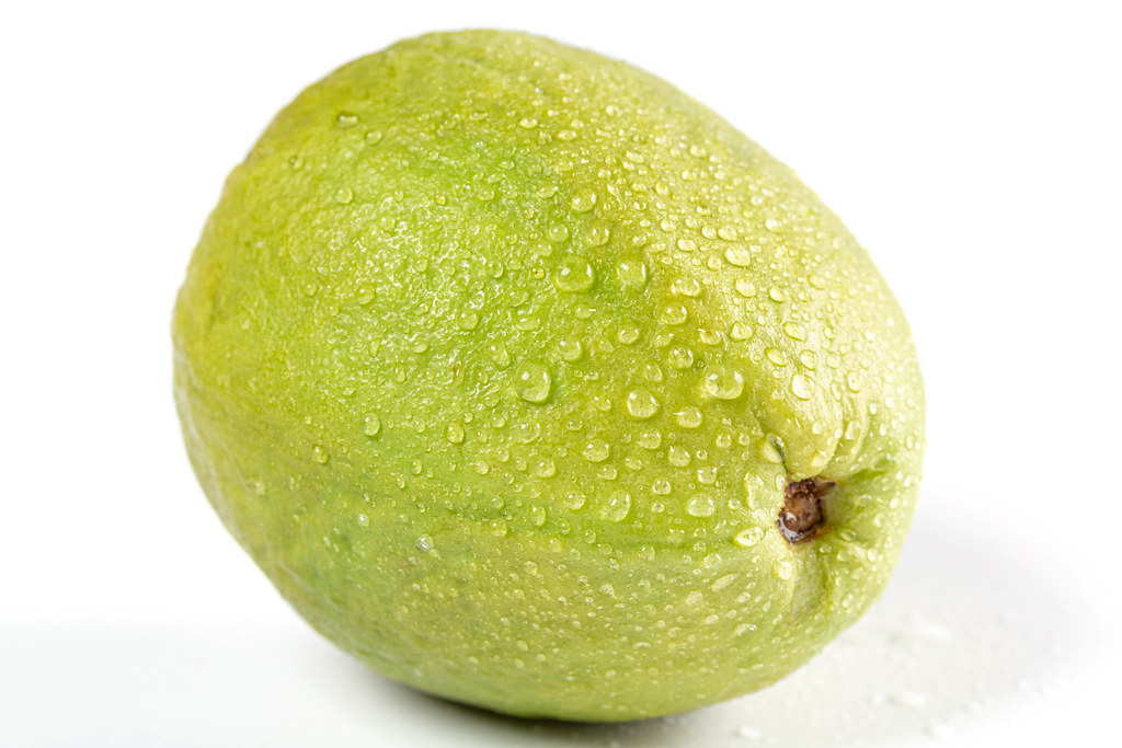 Ripe guava with water drops
