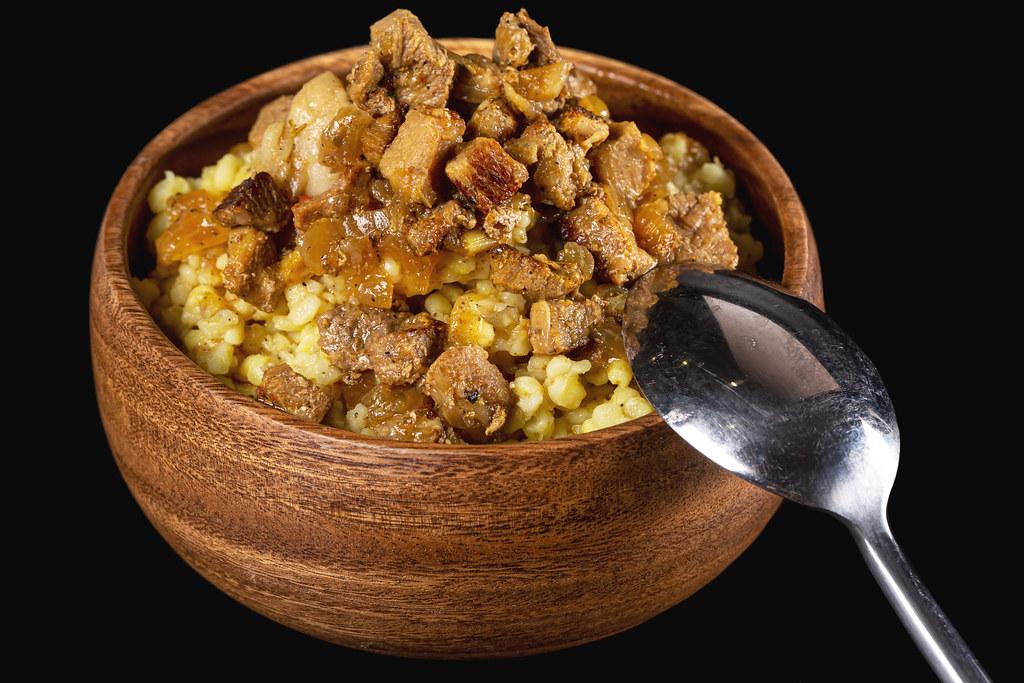 Close-up, bulgur porridge with meat gravy