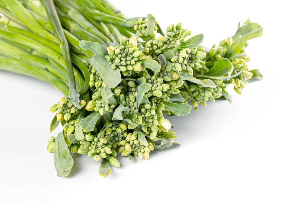Close-up, inflorescences of fresh broccolini