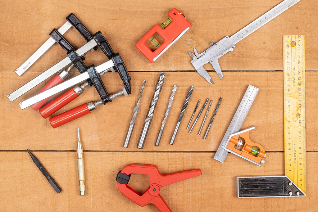 Woodworking Tools on the wooden table