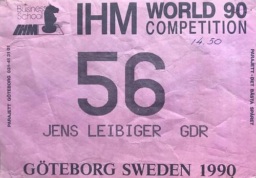 Weltcup Göteborg 1990 Startnummer