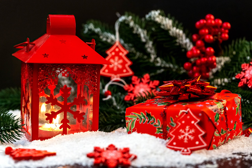 Christmas background with red lantern and gift
