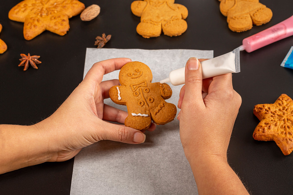 Making gingerbread cookies for holidays