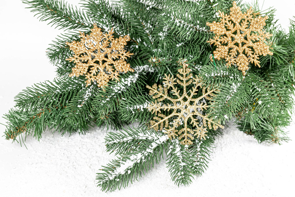 Christmas tree branches, golden snowflakes and snow