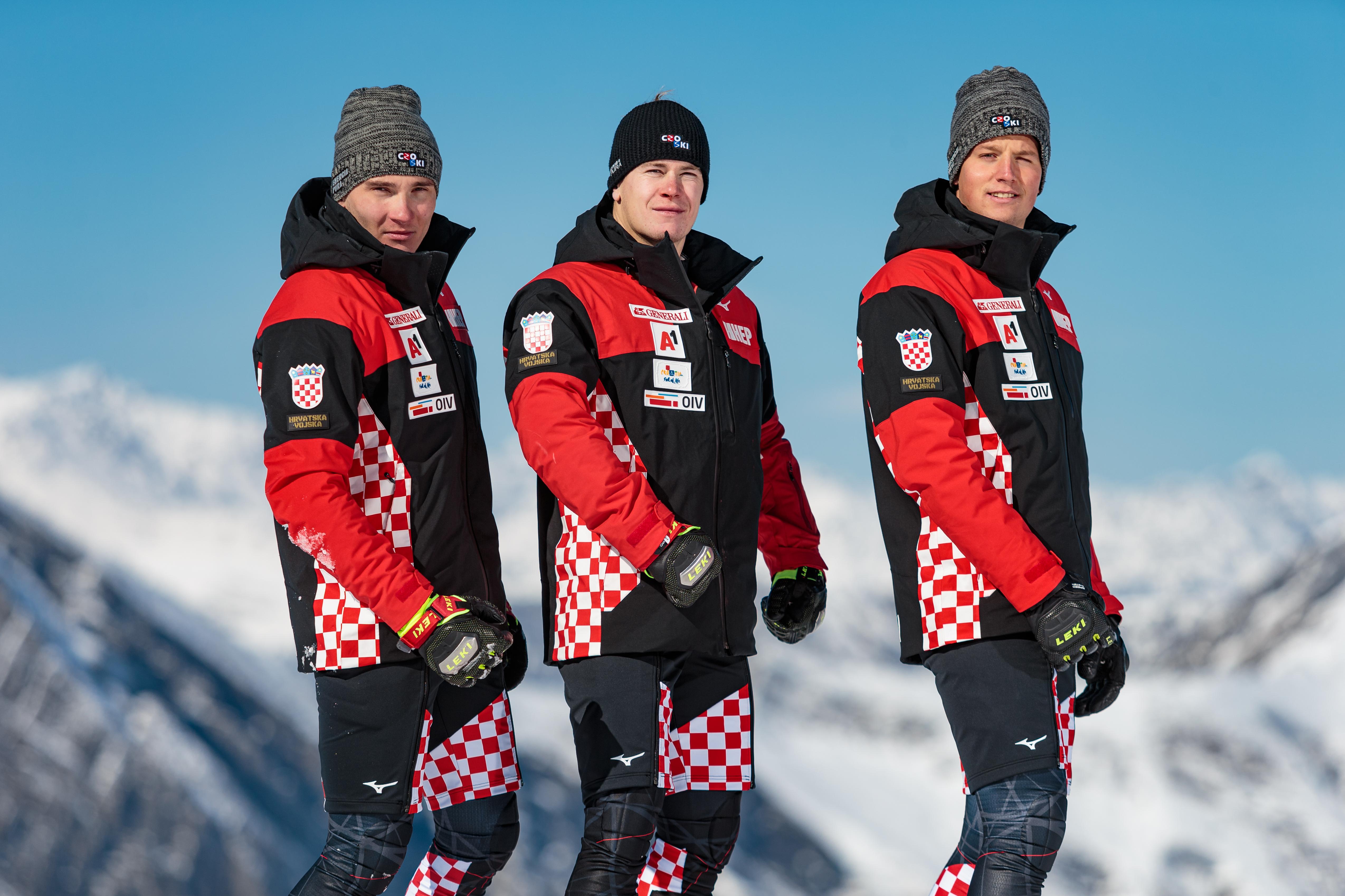 Filip Zupčić, Istok Rodeš i Elias Kolega, pripadnici Vrhunskih sportaša u HV, članovi Hrvatske alpske skijaške reprezentacije