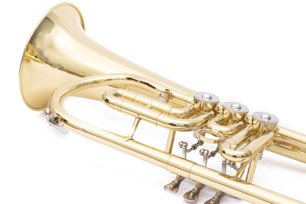 Trumpet closeup images above white background