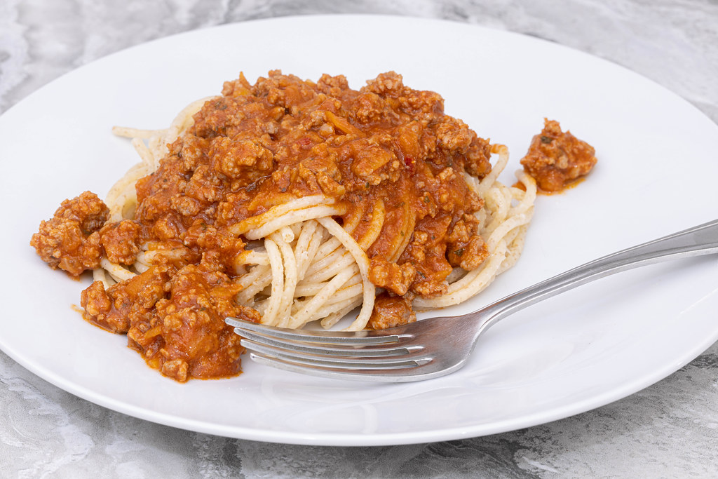 Spaghetti Bologneze served on the plate