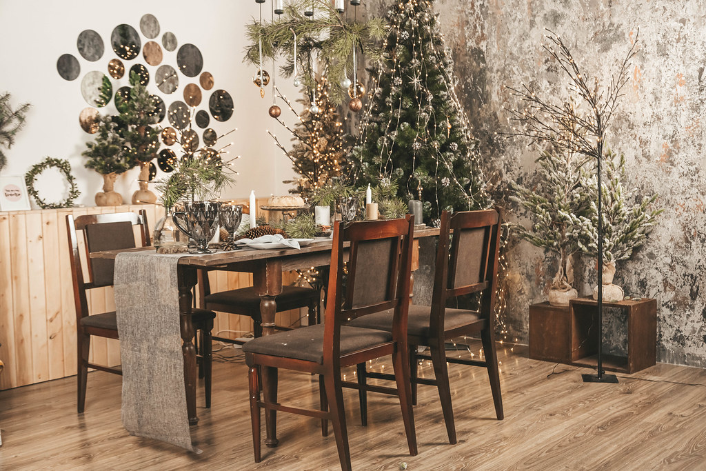 Beautifully served dining table in the new year's interior