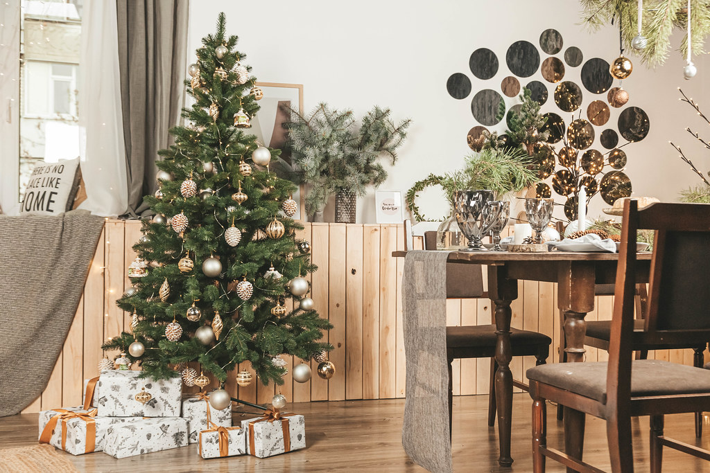Interior of room with beautiful decorated christmas tree