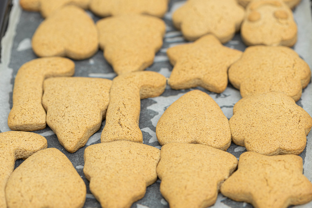Baked Christmas cookies with cookie templates