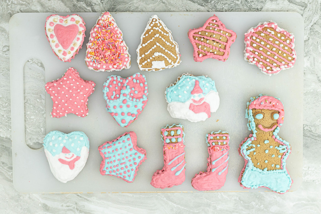 Top view of Colorful Christmas Cookies
