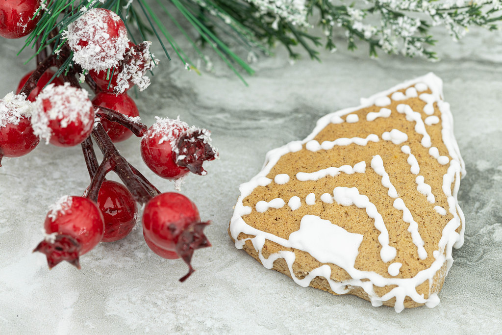 Christmas Cookie with branche decorations above grey background