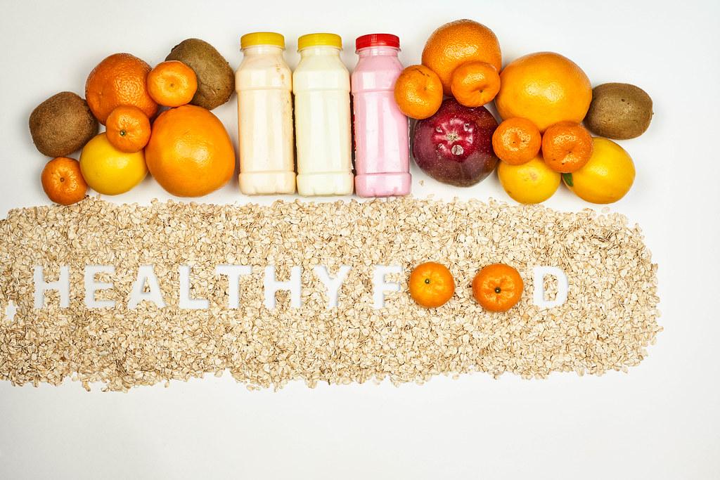 Healthy food. Balanced weight-loss-friendly fruit-based diet ingredients