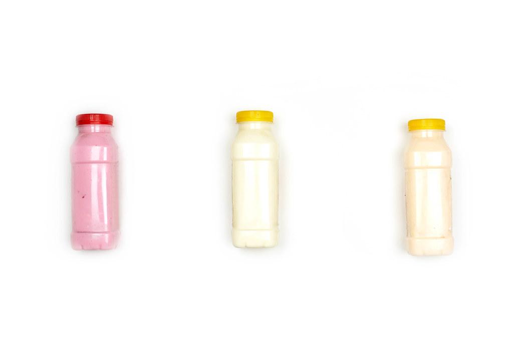 Three bottles of homemade sugar-free yogurts