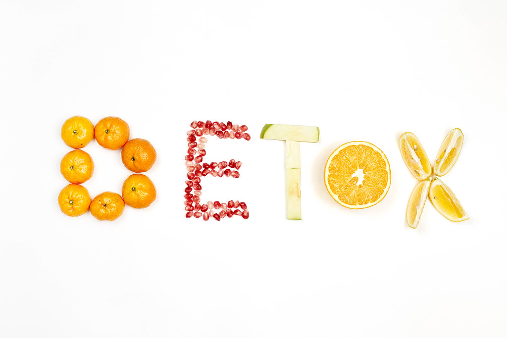 Detox word made with organic fruits
