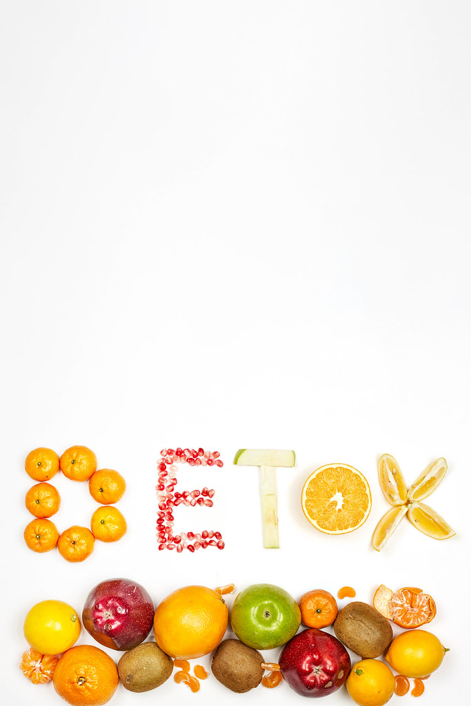 Detox fruits background with copy space