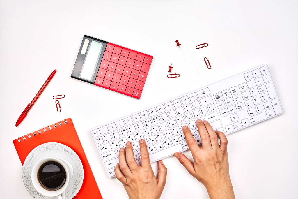 Bright working space of accountant