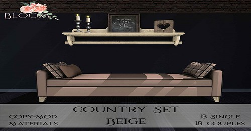 New Cosy Country Set Available at Bloom! Furniture and Decor! Comes in 3 colors!