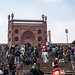 Delhi, India - December 14, 2019: Crowds gather just outside of Jama Masjid muslim mosque (Friday Mosque) near Old Delhi