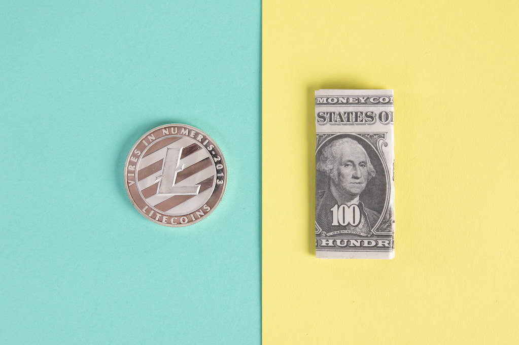 Litecoin coin and folded one hundred dollar banknote