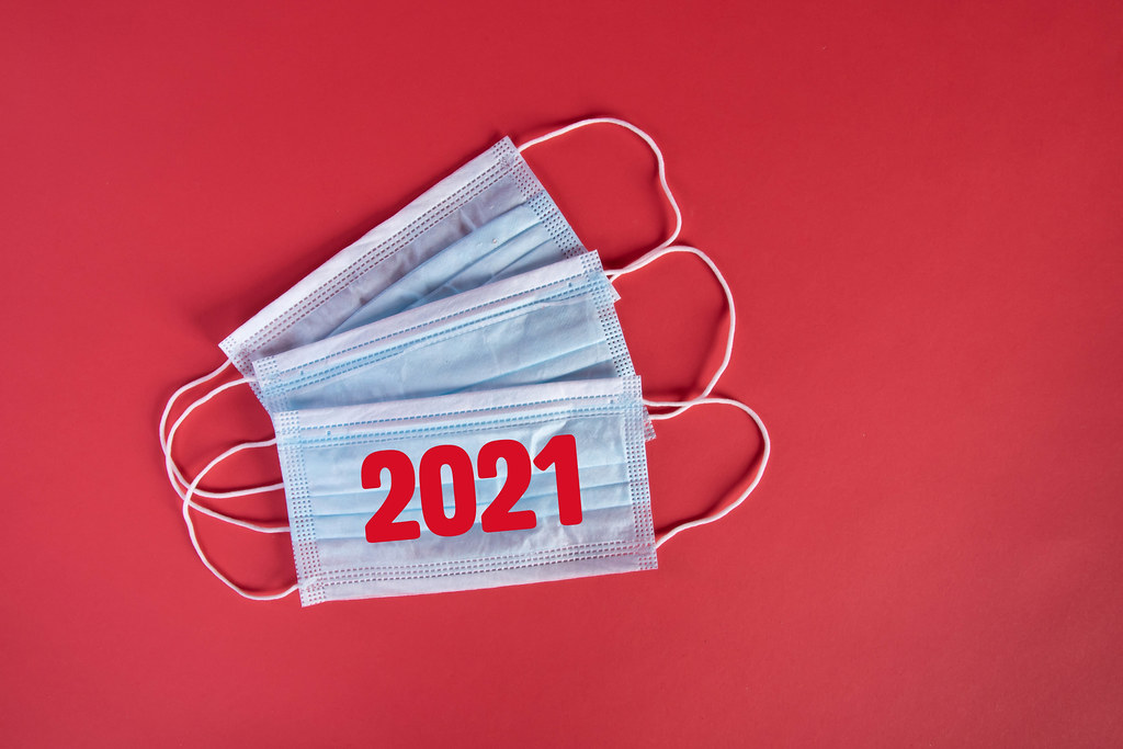 Medical face masks with red 2021 text