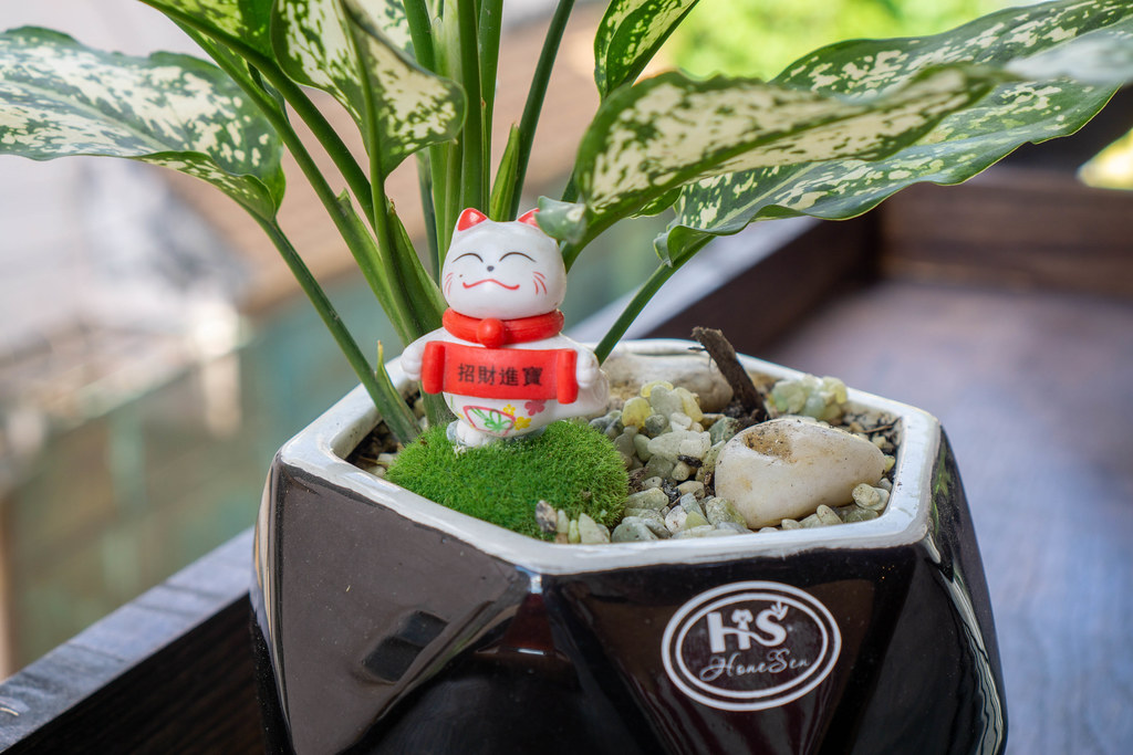 Smiling Lucky Cat Decoration in a Plant Pot with Pebbles and Stones on a Wooden Balcony Table