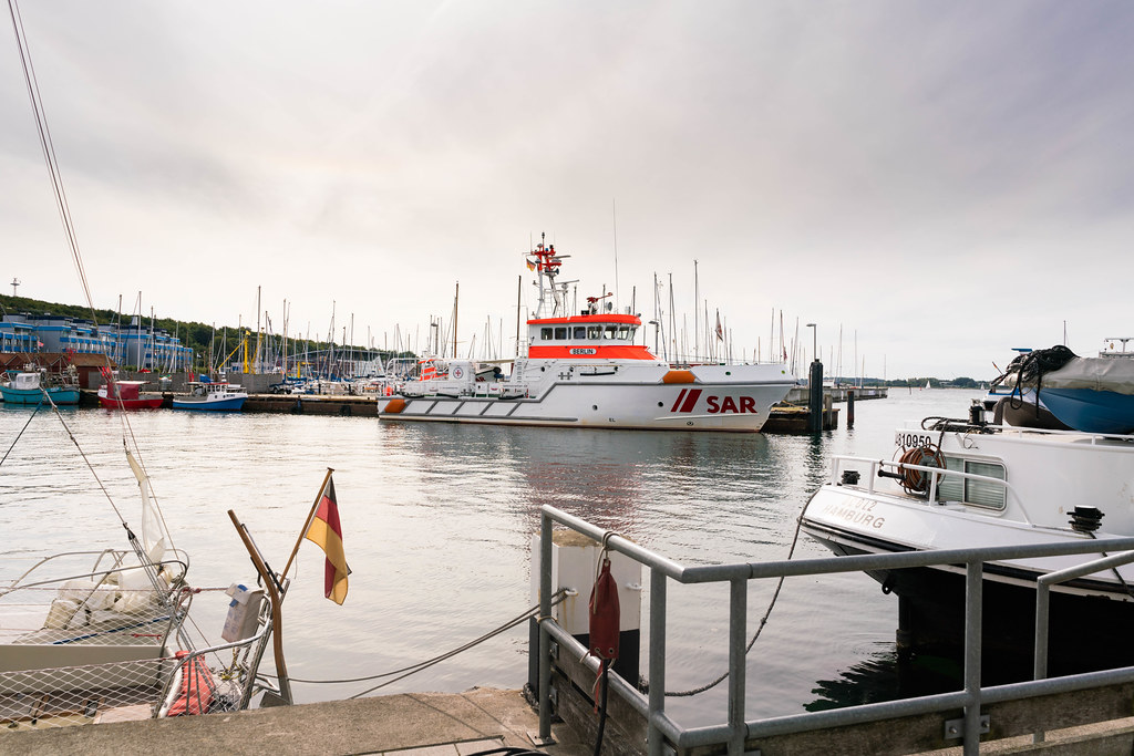 German Maritime Search and Rescue Service (SAR) boat in the harbor north of Kiel